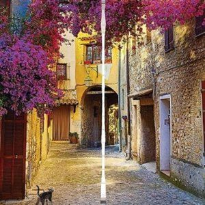 Curtains French Riviera Tuscan Alley Print 1039